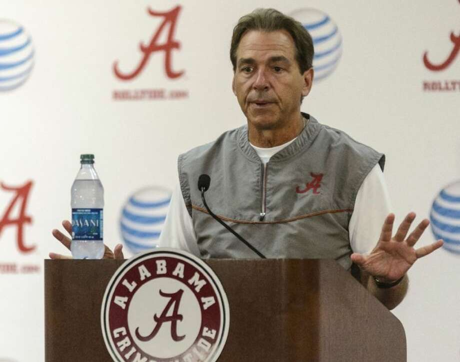 Alabama coach Nick Saban talks to reporters about today's game against Texas A&M. Photo: Vasha Hunt