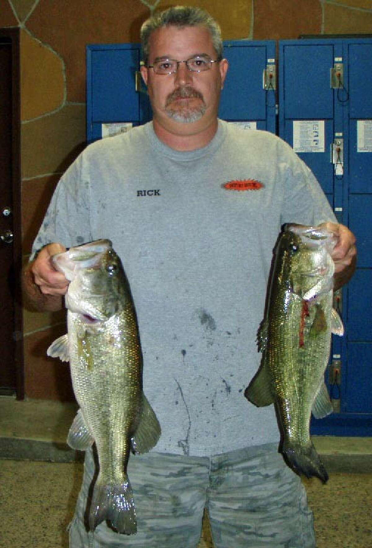 Charles Bebber and Rick Johnson finished third in the Conroe Bass Tuesday Night Tournament with a stringer weight of 10.76 pounds.