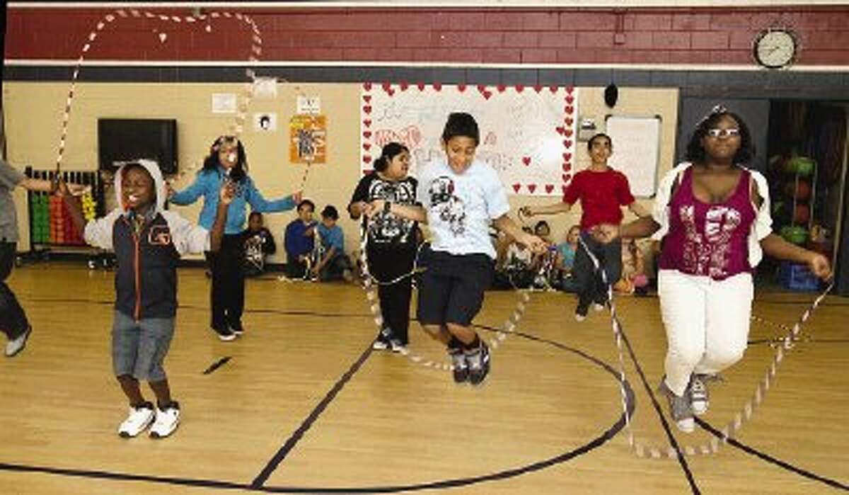 Students at Armstrong Elementary enjoy a jump rope party in recognition of their fundraising efforts for the American Heart Association.