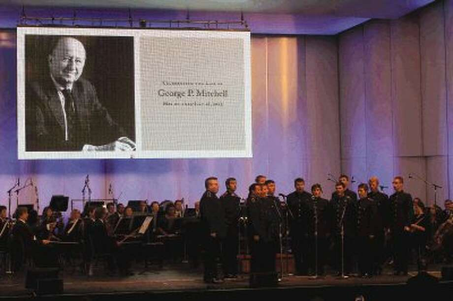 The Texas A&M University singing cadets perform during a celebration of George Mitchell's life at the Cynthia Woods Mitchell Pavilion Thursday. To view more photos of the event, go to HCNPics.com. / Conroe Courier