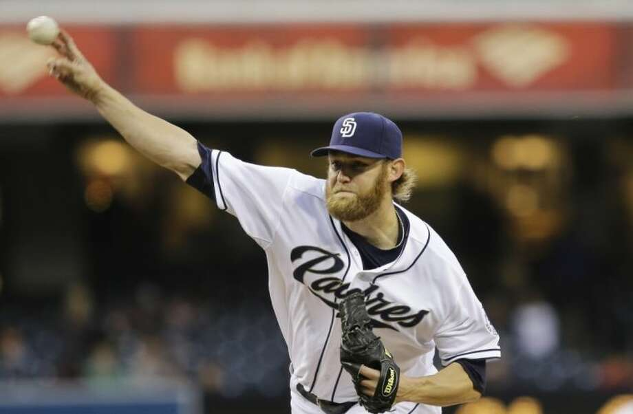 San Diego Padres starter Andrew Cashner releases a pitch against the Miami Marlins in the first inning Monday in San Diego. Photo: Lenny Ignelzi