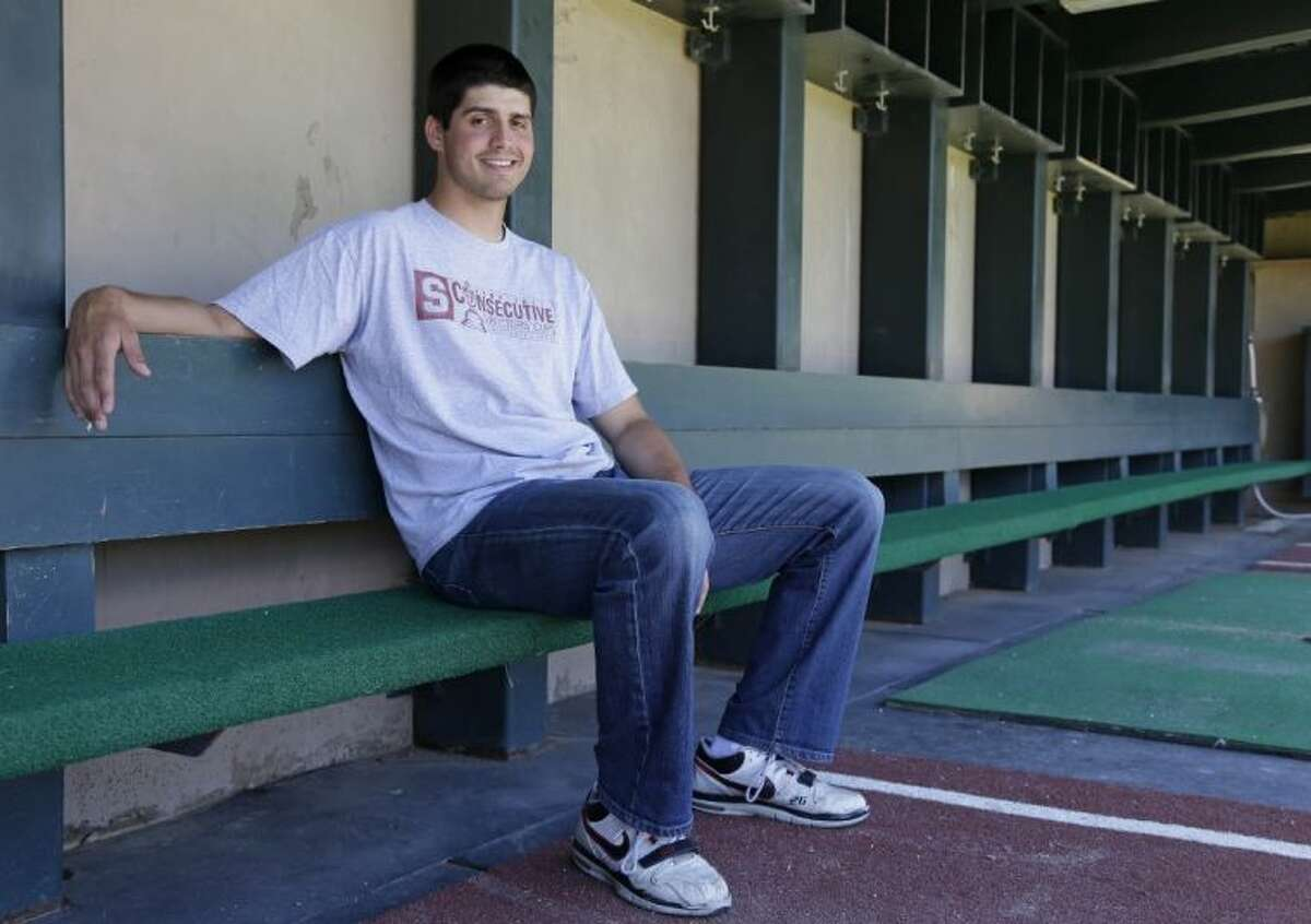 Stanford pitcher Mark Appel poses in the dugout of the Sunken Diamond on May 20 in Stanford, Calif.