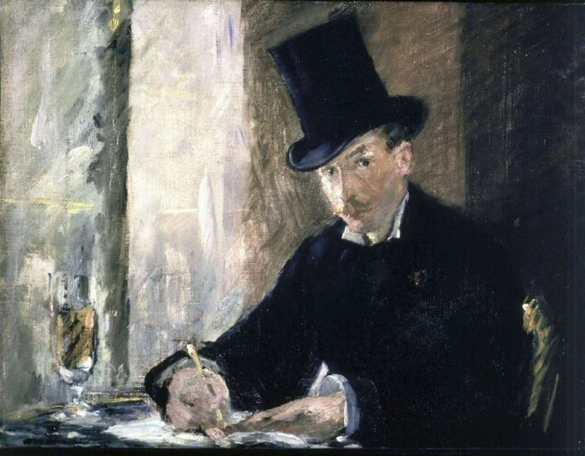 """This undated file photograph released by the Isabella Stewart Gardner Museum shows the painting """"Chez Tortoni,"""" by Manet, one of more than a dozen works of art stolen in the early hours of March 18, 1990. The FBI said Monday, March 18, 2013, it believes they know the identities of the thieves, belonging to a criminal organization based in New England."""