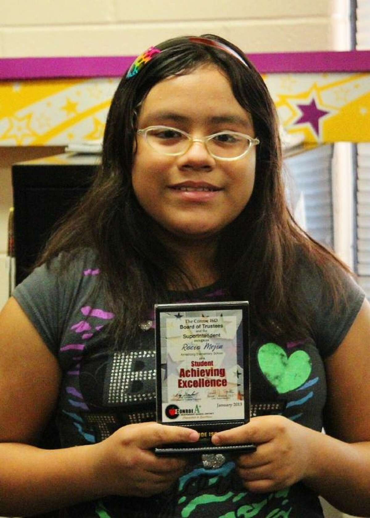 Conroe ISD recently recognized Rocio Mejia as Armstrong Elementary's Student Ambassa- dor.