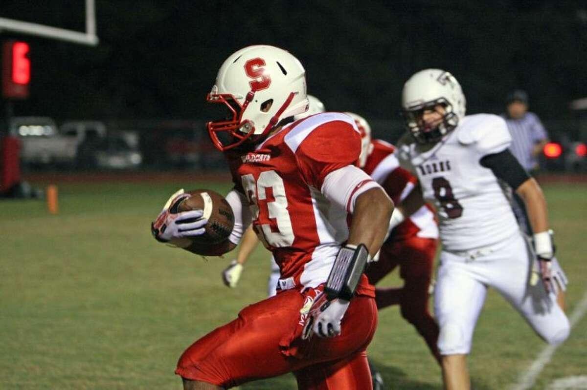 Splendora's Jay Bradford runs for a touchdown against Tarkington on Friday at Wildcat Stadium in Splendora.