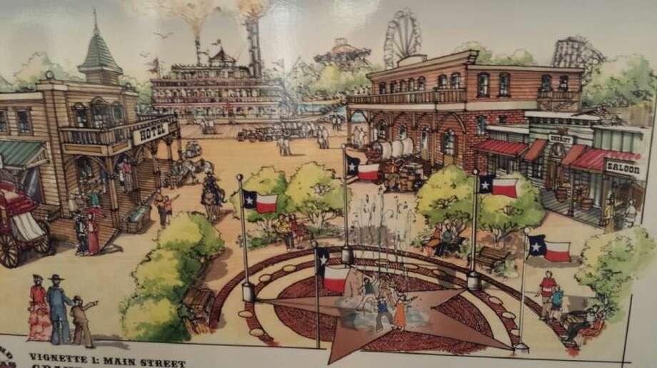 Artist rendering of Main Street at Grand Texas Theme Park