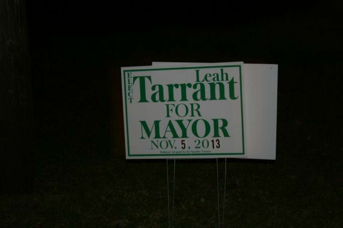 Signs in support of current Mayor Pro-Tem Leah Tarrant still line the streets in Patton Village, two days after she finished in a tie with Billy Crittenden for the mayor's seat.