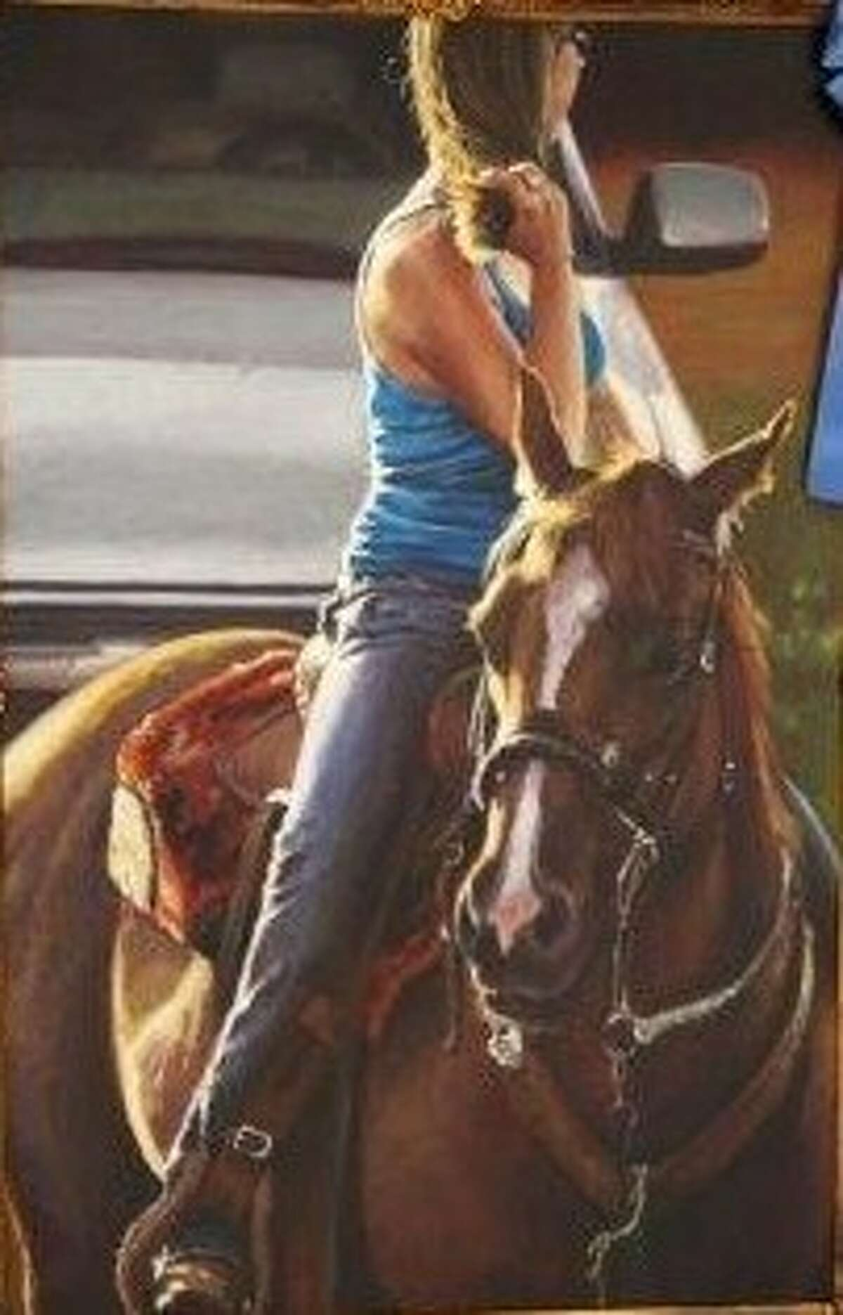 """A painting by Barry Carter, titled """"Cowgirl's Best Friend,"""" won the """"Best of Show"""" award at the Feb. 23 Conroe Art League Spring Show."""