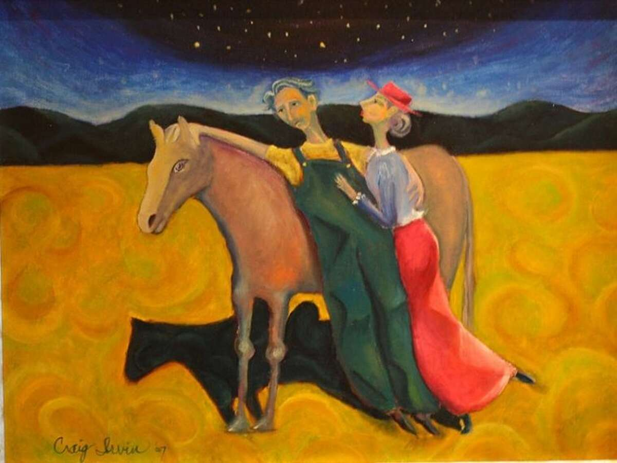 """A painting by Craig Irvin titled, """"Someone to Lean On,"""" which just sold at the Gallery at the Madeley Building."""