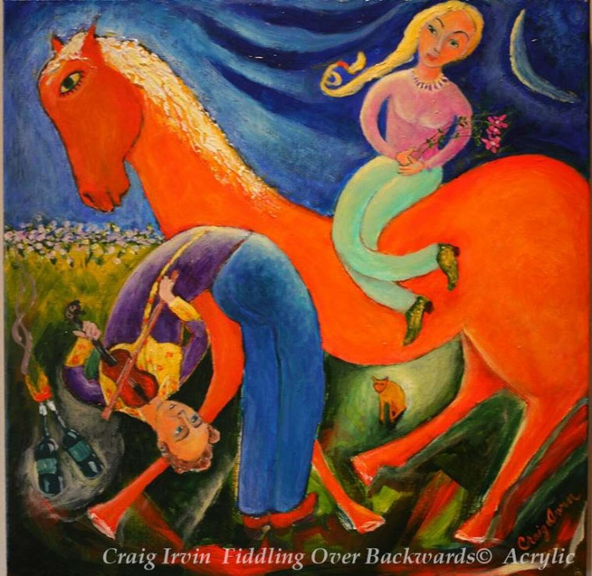 """A painting by Craig Irvin titled """"Fiddling Over Backwards,"""" which is currently on display at the Gallery at the Madeley Building."""
