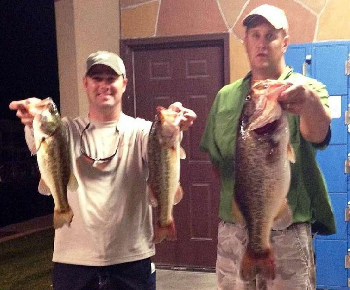 Dustin Hill and Clint Laskoskie finished second in the Conroe Bass Tuesday Night Tournament with a stringer weight of 12.87 pounds.