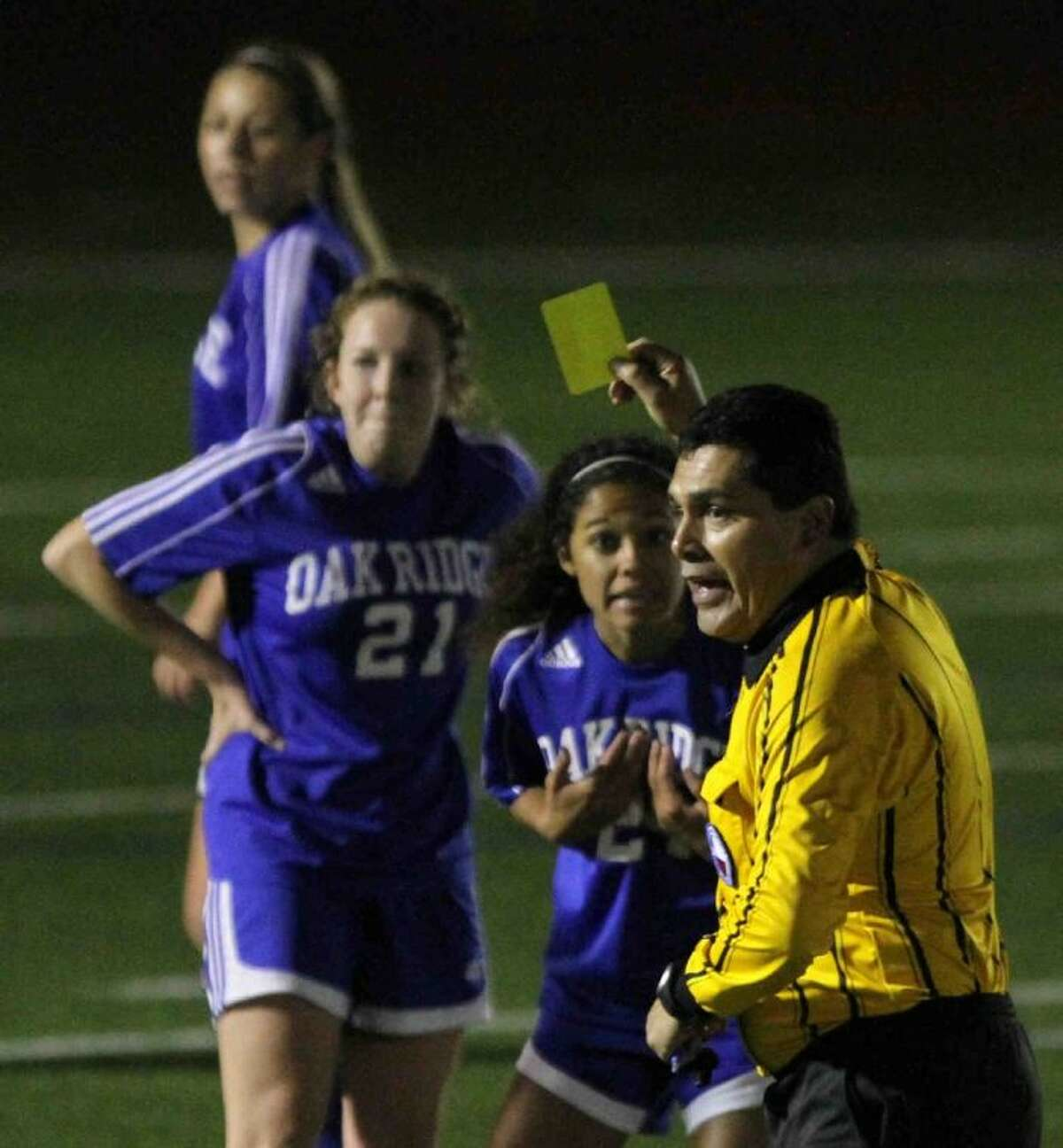 Oak Ridge forward Kamri Brown reacts after getting a yellow card Thursday during the I-10 Shootout at Mayde Creek High School.