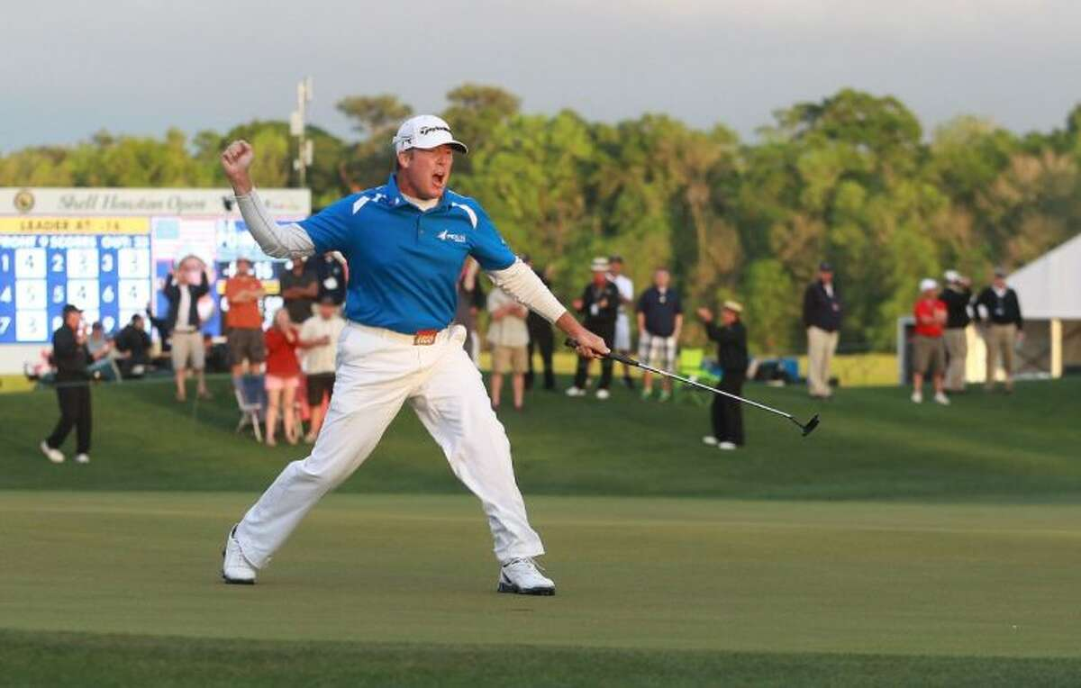 D.A. Points celebrates on the 18th hole of the Houston Open.