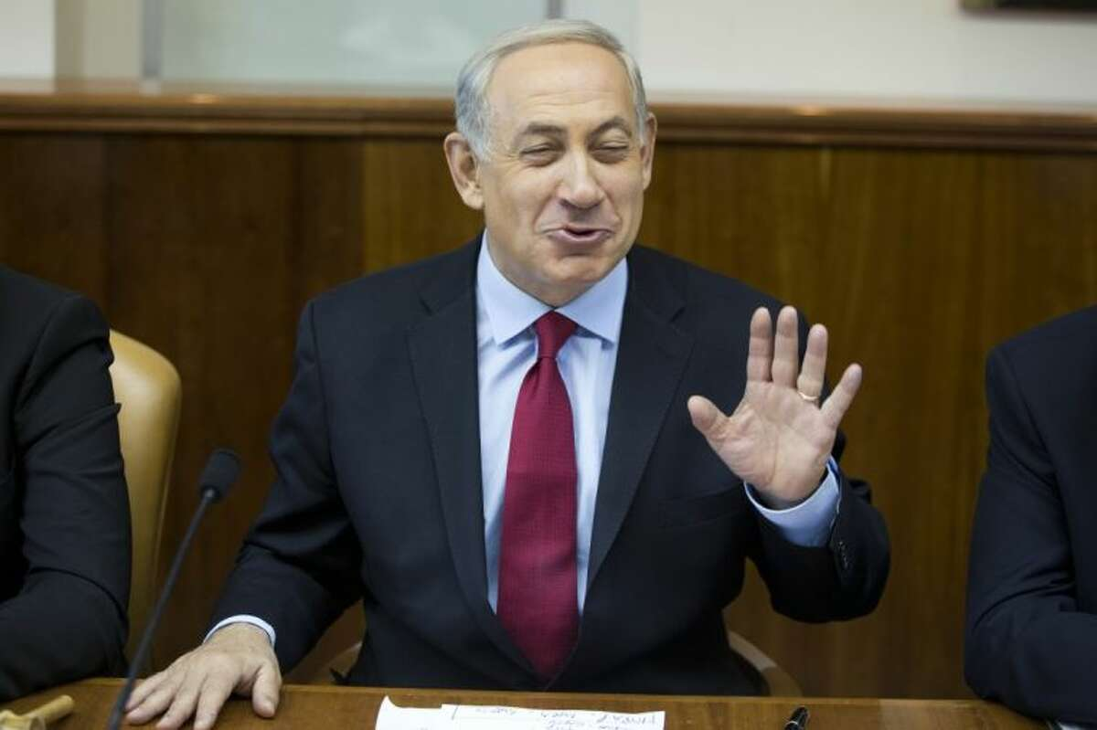 Israeli Prime Minister Benjamin Netanyahu speaks at the weekly cabinet meeting at his Jerusalem office on Sunday, Oct. October 2013.