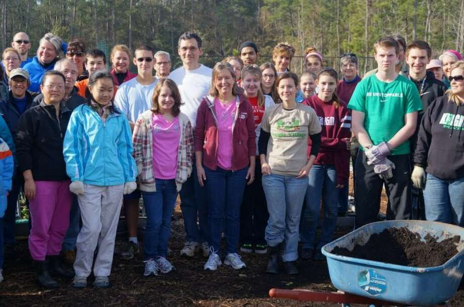More than 60 volunteers gathered at the Veggie Village Donation Garden to prepare the garden for spring planting. More than 80 pounds of winter produce was harvested and will be given to area seniors.