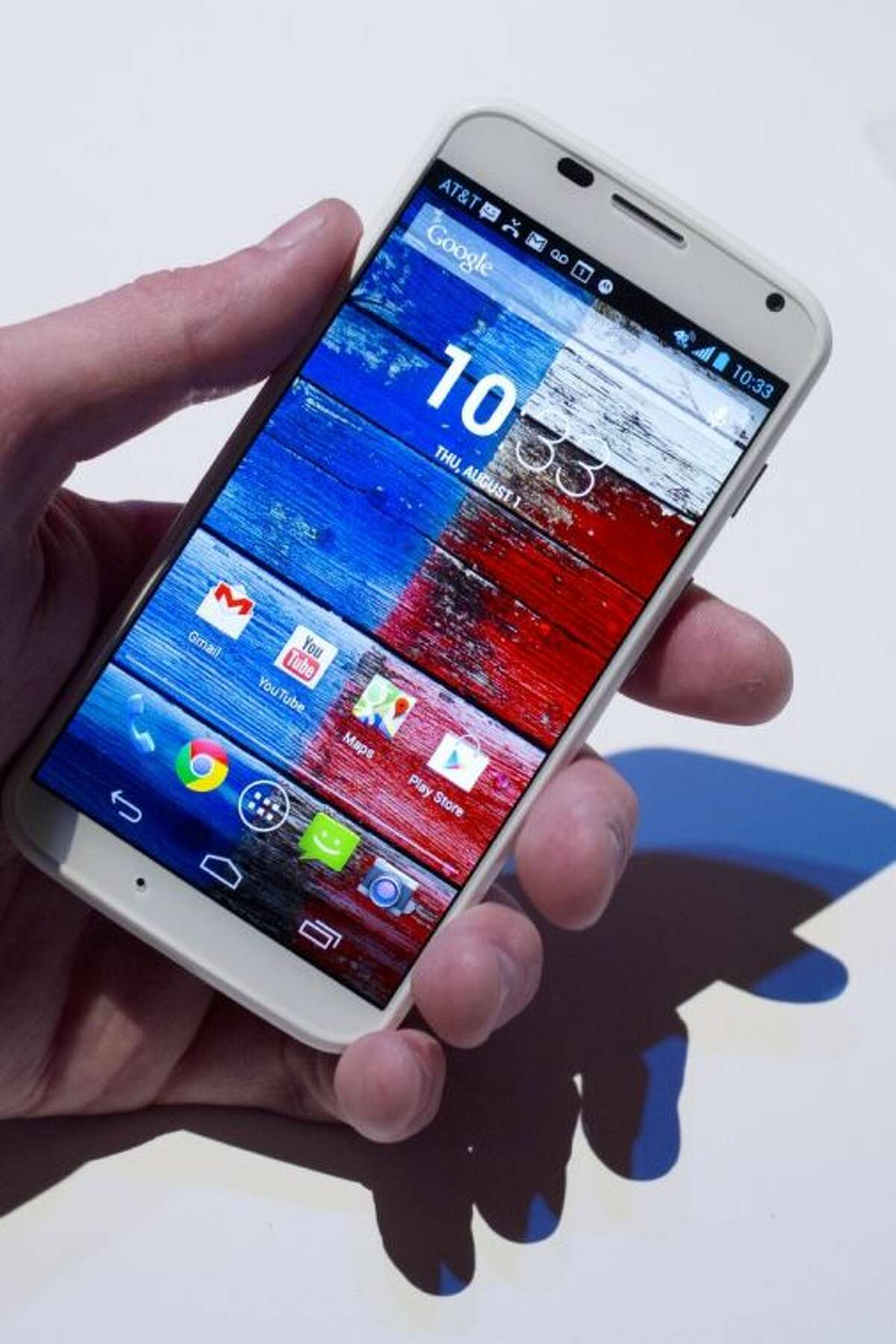 The Motorola Moto X smartphone, using Google's Android software, is shown, Thursday, Aug. 1, 2013 at a press preview in New York.