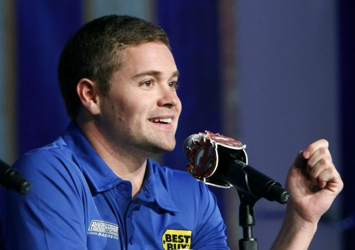 NASCR Sprint Cup driver Ricky Stenhouse Jr. speaks during a news conference at the Texas Motor Speedway.