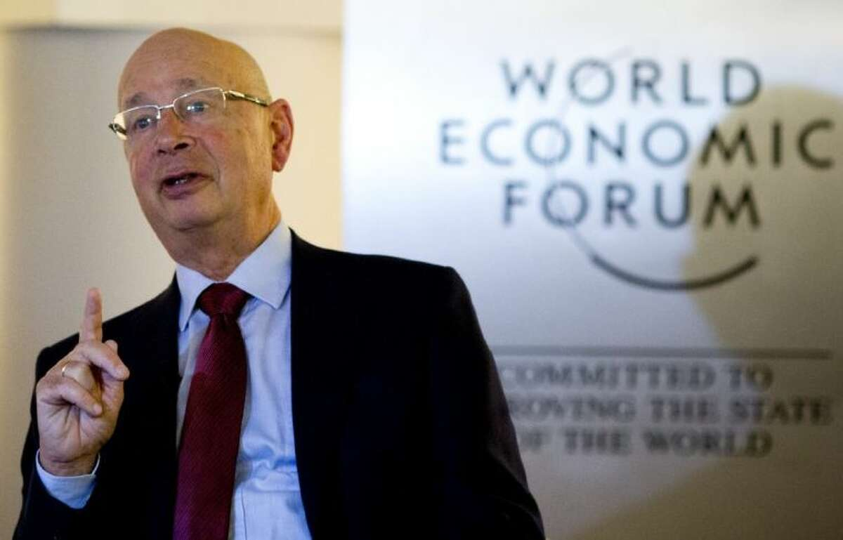 German Klaus Schwab, founder and president of the World Economic Forum, WEF, gestures during an interview with the Associated Press in Davos, Switzerland, Jan. 21, 2013. The world's financial and political elite will head this week to the SwissAlps for 2013's gathering of the World Economic Forum in Davos, with the global economy far less plagued by fear than it was last year.