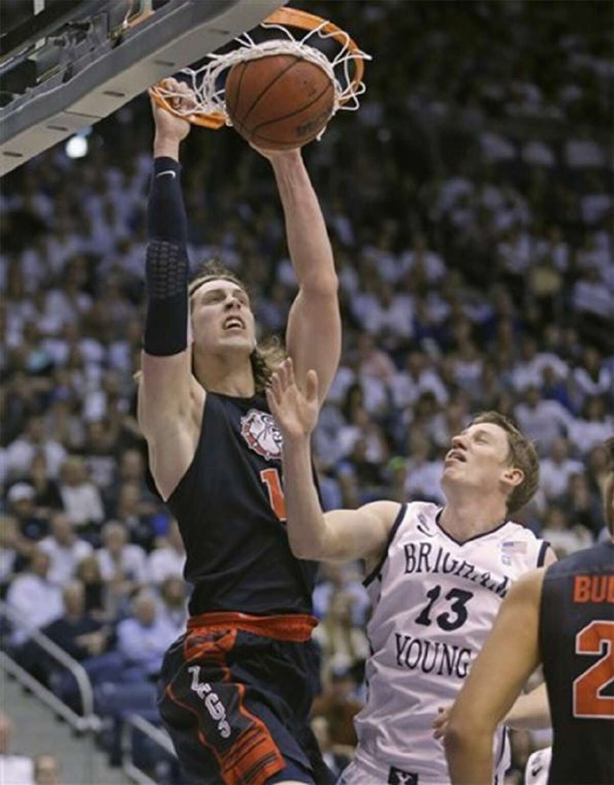 Gonzaga center Kelly Olynyk dunks against BYU. The Zags, representing a small Jesuit school in Spokane, Wash., are the nation's No. 1-ranked college basketball team.