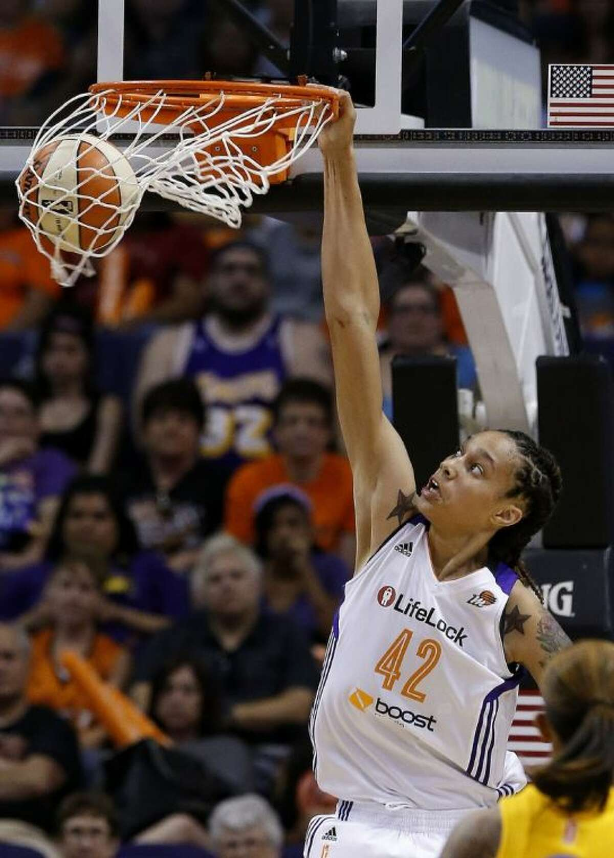 Phoenix Mercury player and former Baylor star Brittney Griner dunks against the Chicago Sky during the second half on May 27 in Phoenix. It's been 15 years since Sylvia Crawley won the ABL slam dunk contest with a blindfolded jam. With so many more women who can dunk, including Griner, it may not be long before it becomes part of WNBA All-Star weekend.
