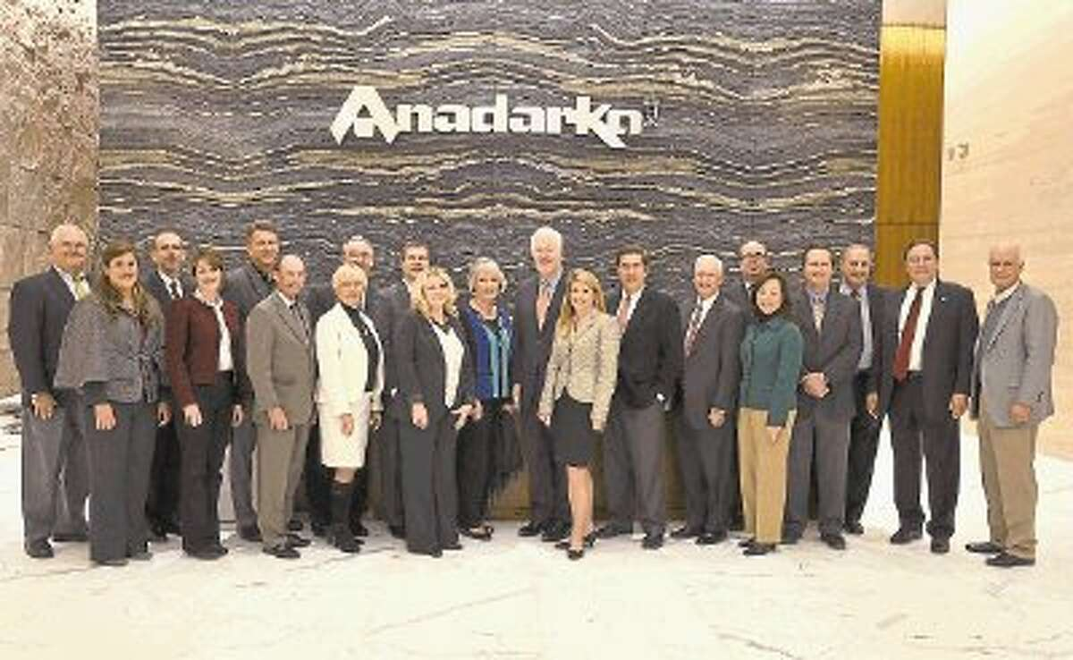 Corporate executives are pictured with U.S. Sen. John Cornyn, R-Texas, and his wife Sandy at the Anadarko Petroleum Hackett Tower. Cornyn took part in a roundtable discussion hosted by The Woodlands Area Economic Development Partnership.