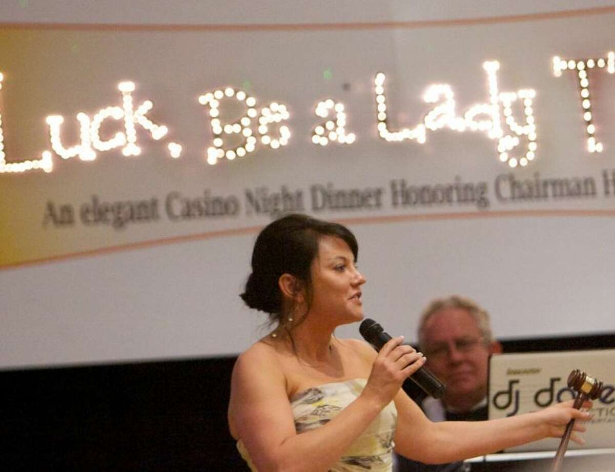 Incoming Chair Tamara Trow speaks during the Greater Conroe/Lake Conroe Area Chamber of Commerce Chairman's Ball at La Torretta Lake Resort Saturday.