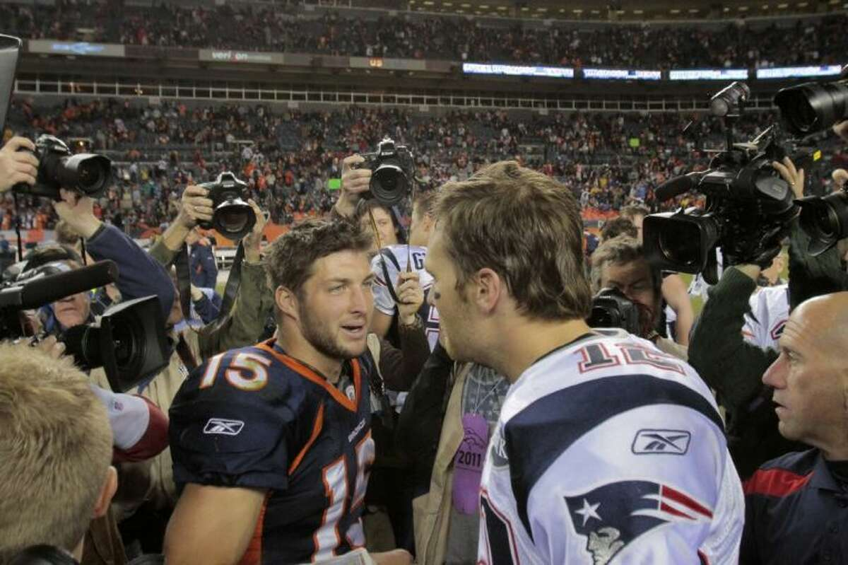 Former Broncos quarterback Tim Tebow, left, will be joining Tom Brady, a three-time Super Bowl champion, and the New England Patriots.