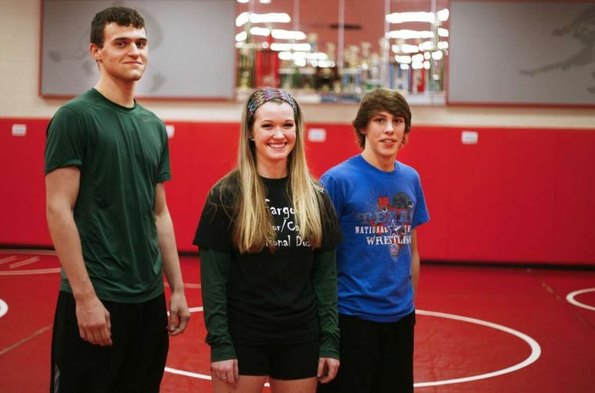 From left, The Woodlands state qualifiers Peter Cianchetti, Lindsey Spjut and Skyler Franks.