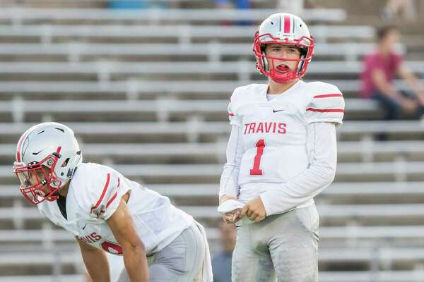 Travis quarterback Amryn Jeffrey (1) threw 6 touchdowns in the win over Clements in a District 20-6A high school football game at Mercer Stadium on Saturday, September 24, 2016, in Sugarland.