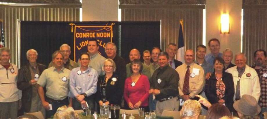 Last Wednesday, some 28 Conroe Noon Lions Club members representing 332 years of perfect attendance were presented their various anniversary pens.