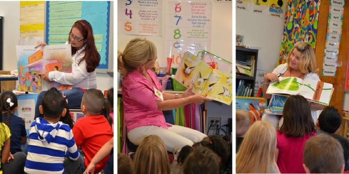 """Conroe Noon Lions members participated in the Conroe ISD """"Reading for Life"""" program Wednesday. Reading to Reaves Elementary students are (from left to right) Lady Lions Stacey Wilson, Mona Hamby and Phyllis Cleary."""