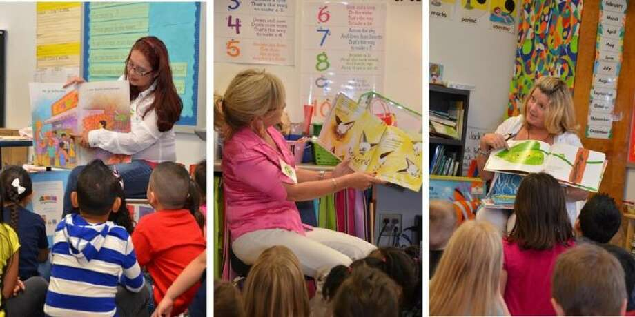 "Conroe Noon Lions members participated in the Conroe ISD ""Reading for Life"" program Wednesday. Reading to Reaves Elementary students are (from left to right) Lady Lions Stacey Wilson, Mona Hamby and Phyllis Cleary."