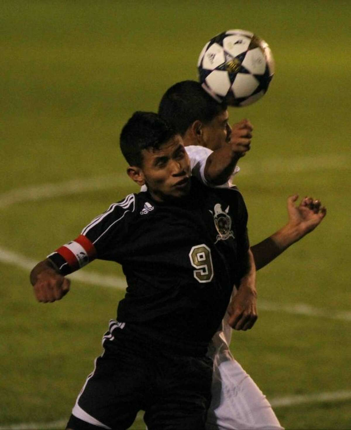 Porter's Brayan Matute goes up for a header during a District 39-4A match Wednesday at Berton A. Yates Stadium. To view or purchase this photo and others like it, visit HCNpics.com.