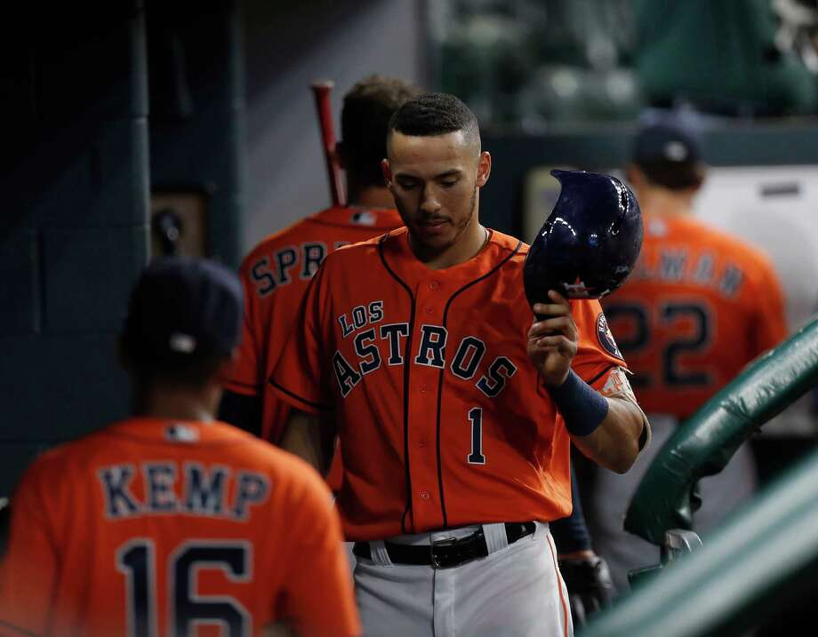 Houston Astros Carlos Correa (1) in the dugout after the Astros 10-4 loss to the Los Angeles Angels during an MLB game at Minute Maid Park, Saturday, Sept. 24, 2016 in Houston. Photo: Karen Warren, Houston Chronicle / 2016 Houston Chronicle