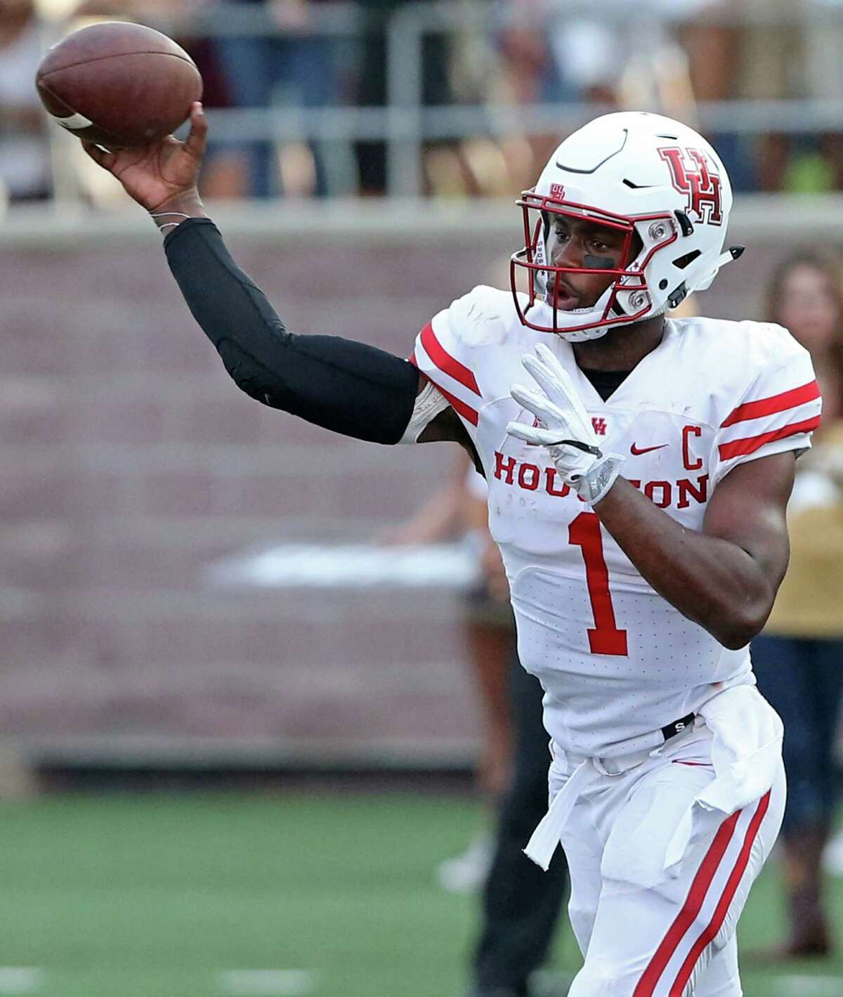 Houston Cougars quarterback Greg Ward Jr. passes during first half action against the Texas State Bobcats Saturday Sept. 24, 2016 at Bobcat Stadium in San Marcos, Tx.