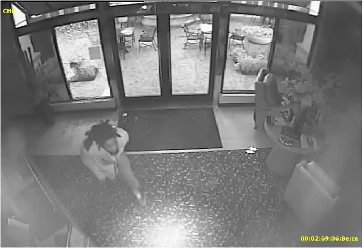 This surveillance video still shows a man believed to have broken into Thomas Markel Jewelry on Market Street in The Woodlands just before midnight Monday.