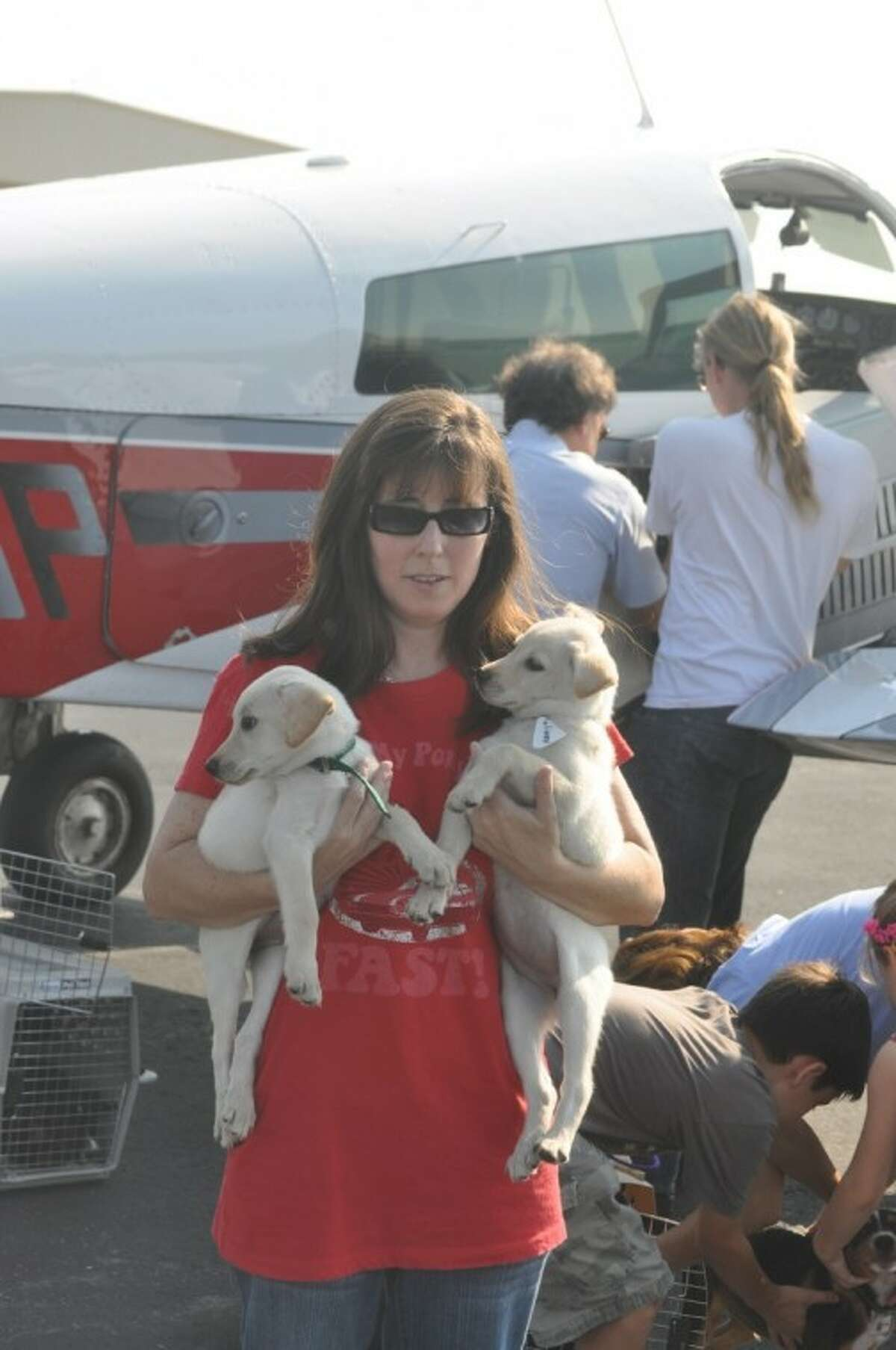 Kim Allen, OPA foster, volunteer holds Lindy and Lucy as they prepare for a plane trip north through Operation Pets Alive. Visit OperationPetsAlive.org for more information about this organization that transports dogs to northern states that have shelters with better save rates.
