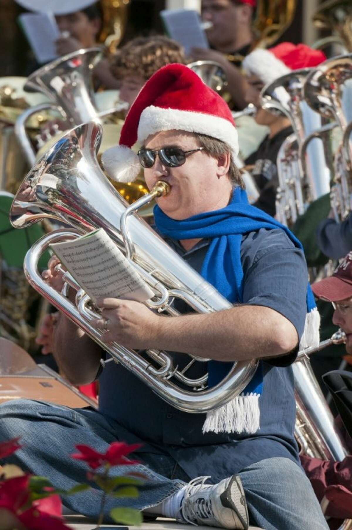 More than 200 sousaphone, euphonium and baritone musicians will perform throughout the day today in Market Street's Central Park beginning at noon.