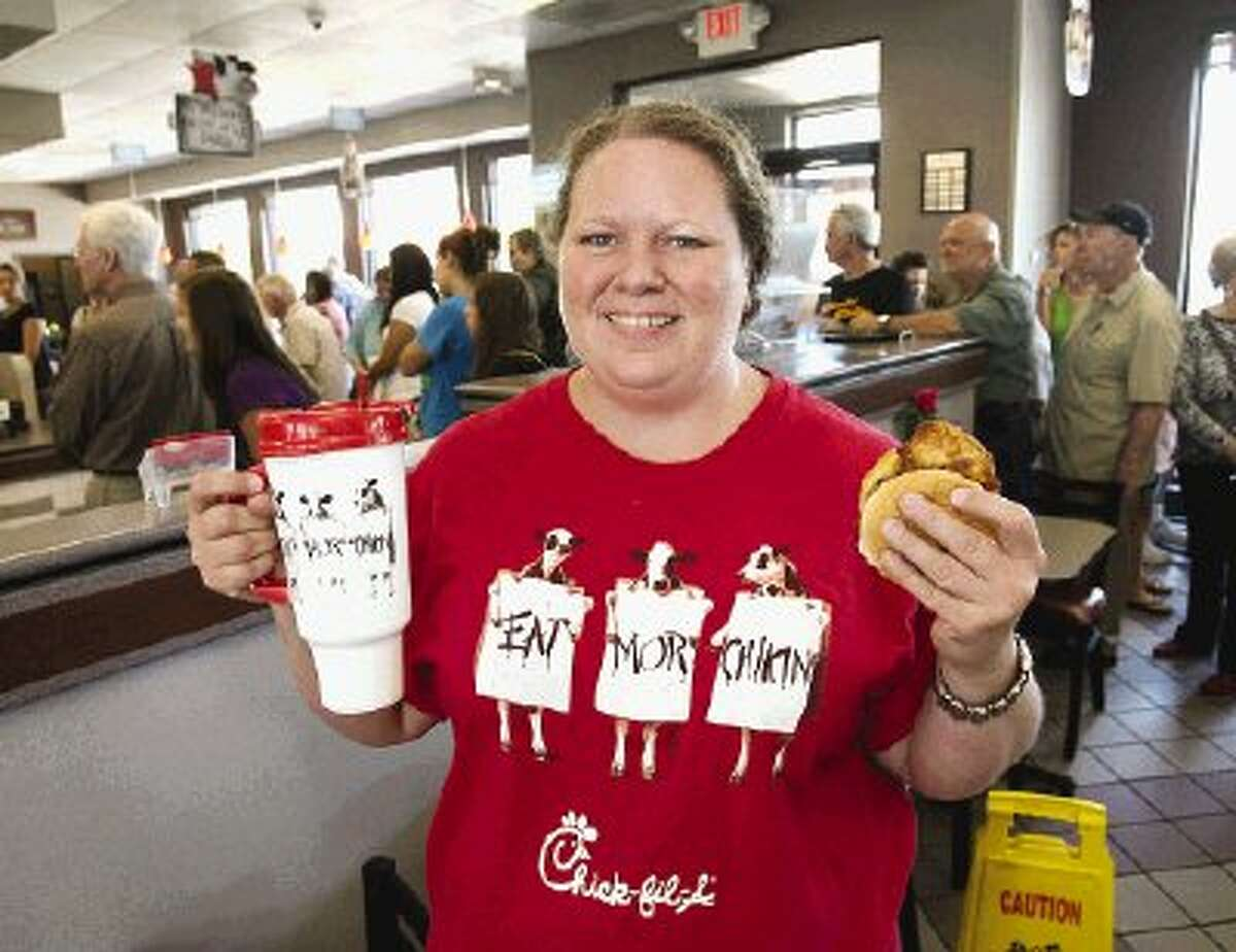 Brandie Meyers, of Conroe, said she and her family would eat both lunch and dinner a Chick-fil-A Wednesday to show support for the restaurant's position on family values.