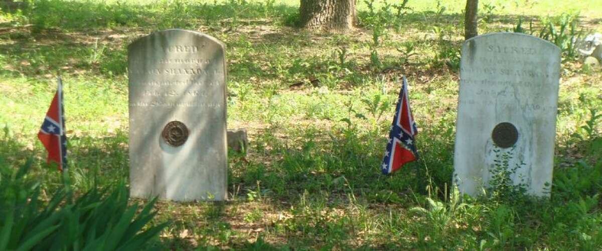 The gravesites of two members of the Shannon family who were Confederate veterans. The graves are in the Jacob Montgomery Shannon Evergreen cemetery near Dobbin just off of Texas 105 on Mt. Mariah Road.