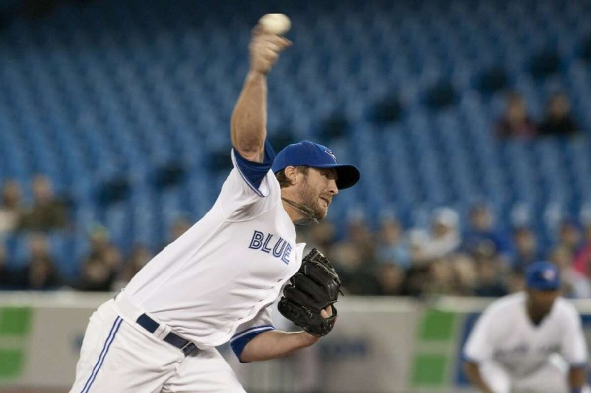 Toronto Blue Jays' Kyle Drabek, a graduate of The Woodlands High School, works against Baltimore Orioles during the first inning in Toronto on Sunday.