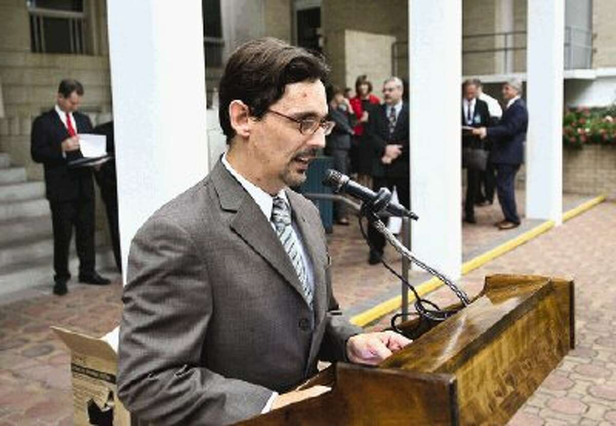 Joshua Zientek of the Montgomery County Criminal Defense Lawyers Association organized the annual reading of the Declaration of Independence on the steps of the Montgomery County Courthouse Tuesday.