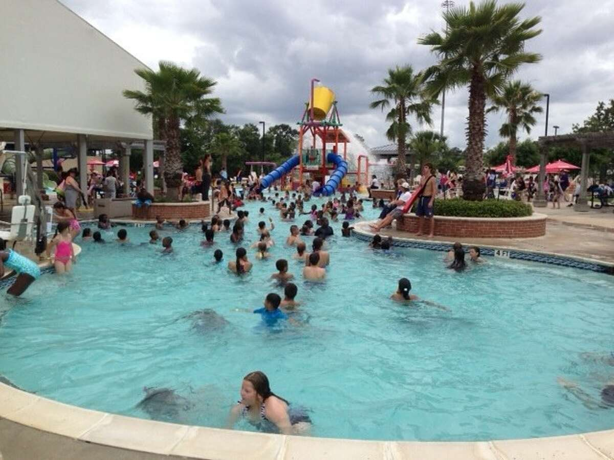 The Conroe Aquatic Center waterpark includes a zero-depth, seasonal leisure pool featuring a graduated beach entry, an interactive play structure with water blasters, mini slides, a water curtain, and giant tipping bucket spilling 400 gallons of water periodically. The older recreational swimmer can enjoy two 22-foot slides enclosed for a speedy drop into a 4-foot pool of water. It's open Monday through Friday 11 a.m. to 7 p.m. and Saturday and Sunday 1-6 p.m.