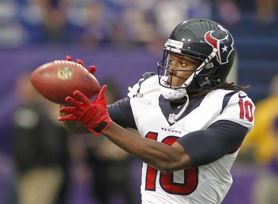Houston Texans wide receiver DeAndre Hopkins made his first appearance at training camp Monday after a brief holdout. Photo: ANDY KING