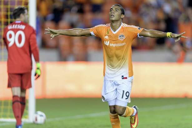 Mauro Manotas (19) of the Houston Dynamo scores his first MLS goal at home off of a penalty kick in the first half against the Portland Timbers on Saturday, September 24, 2016 at BBVA Compass Stadium in Houston Texas.