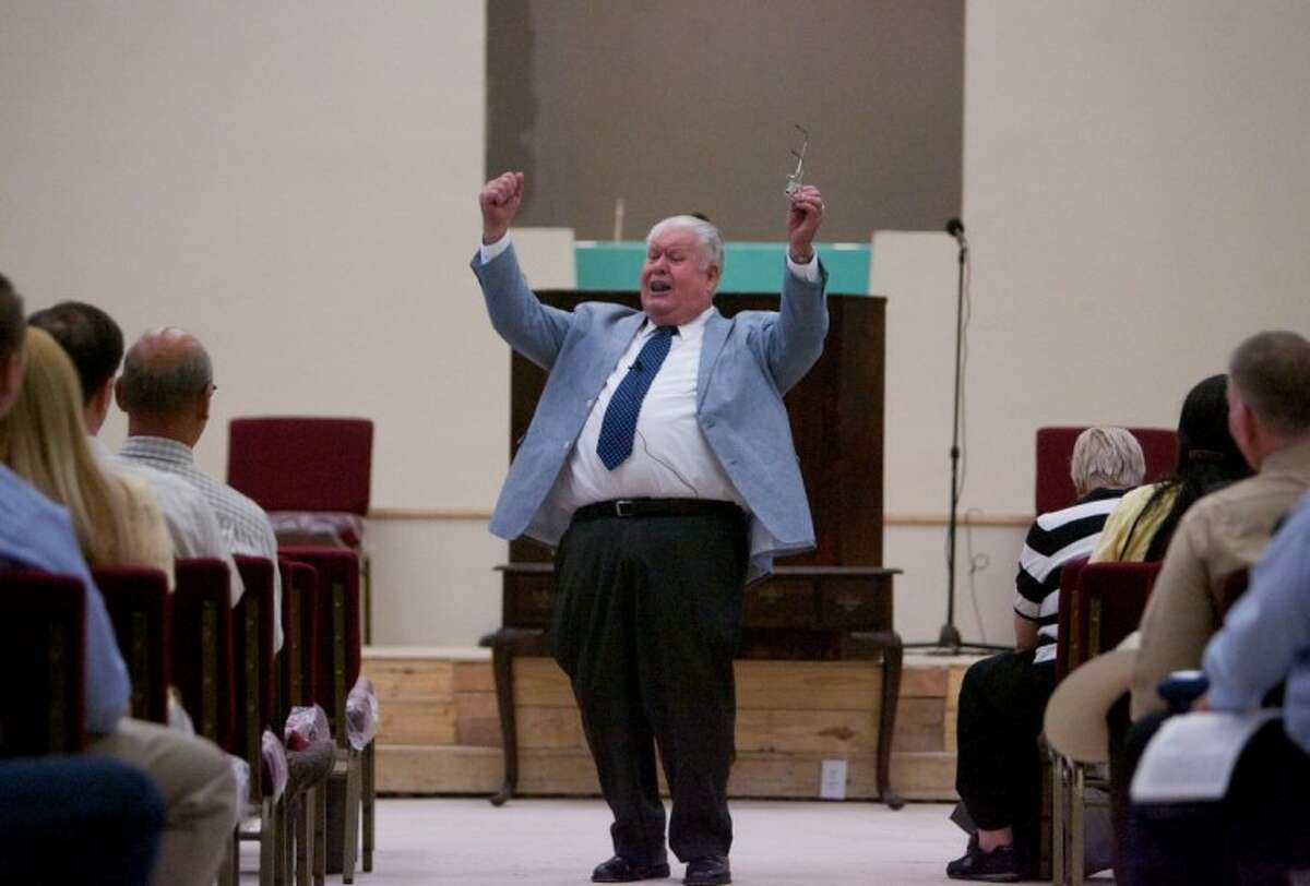 Leroy Dalrymple preaches to the congregation at Bible Baptist Church during a worship service Saturday celebrating the grand opening of the church's new building at 10984 FM 1485.