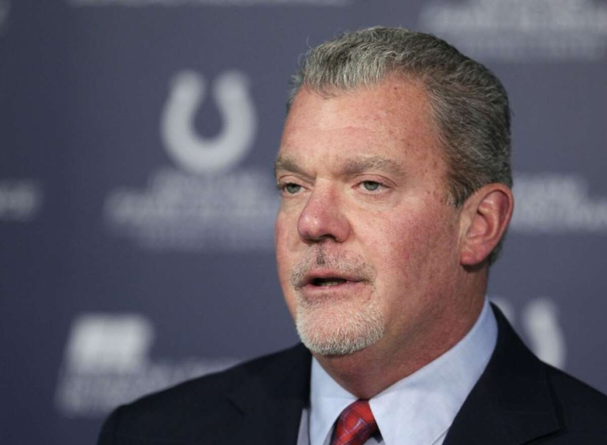 Indianapolis Colts owner Jim Irsay speaks during a news conference at the NFL football team's headquarters in Indianapolis.