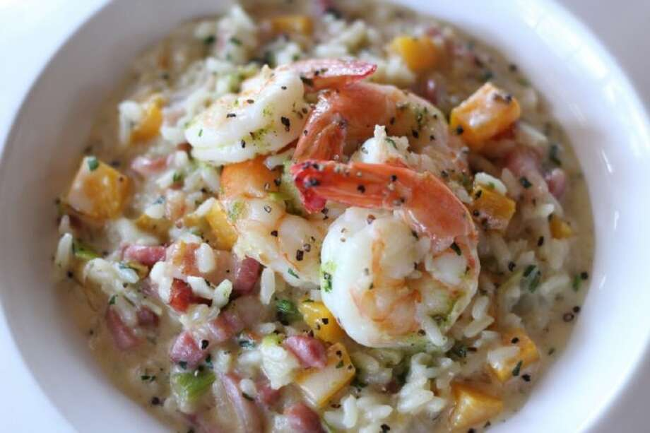 Chef John Sheely with Mockingbird Bistro and the new Osteria Mazzantini shared his recipe for Roasted Red Pepper Risotto with Grilled Shrimp.