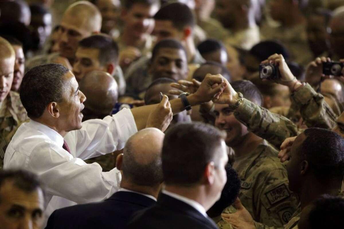 President Barack Obama addresses troops at Bagram Air Field, Afghanistan, Wednesday.