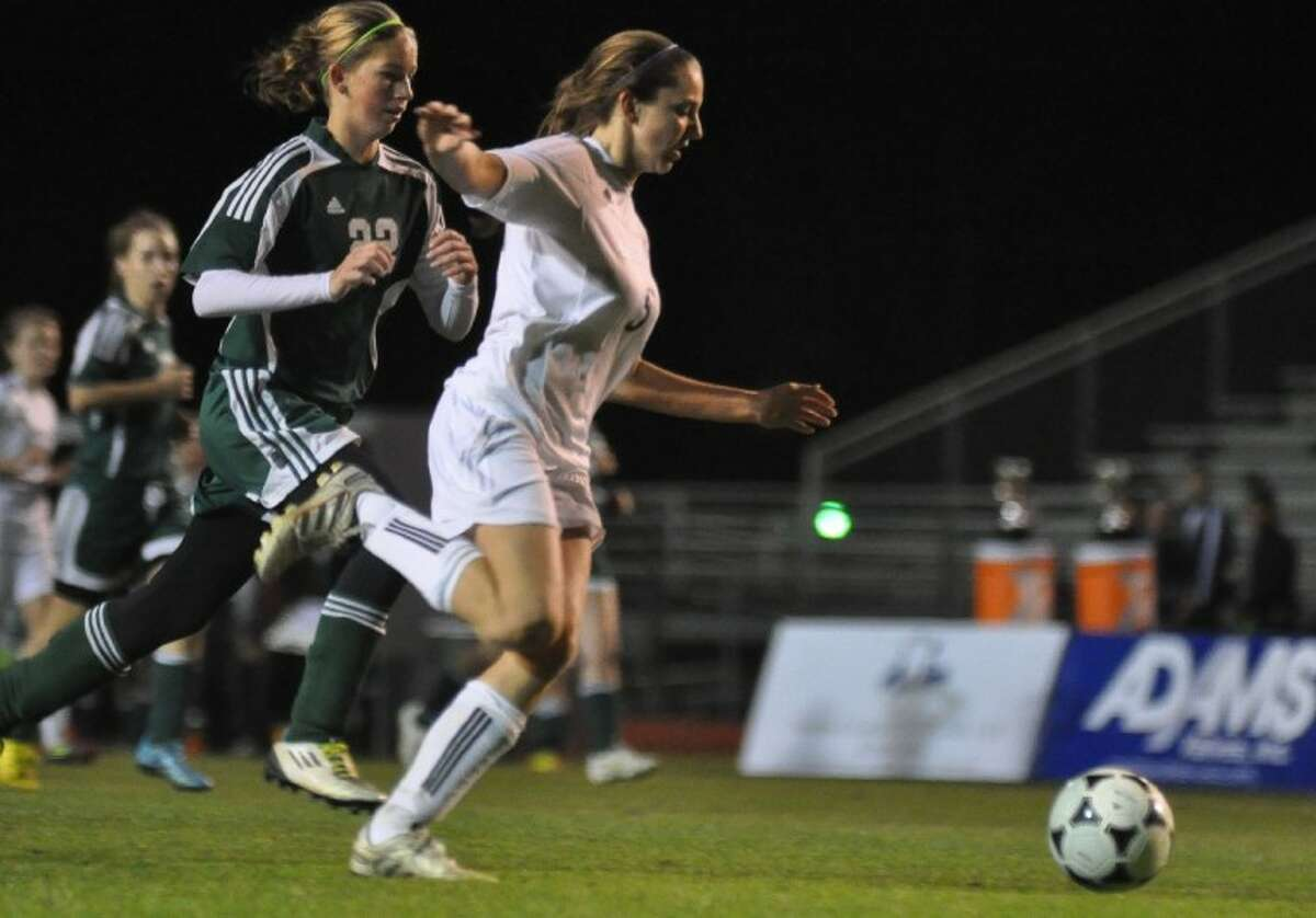 Willis' Jenny Corbett battles for the ball during the championship game of the Kat Cup against Cy-Falls on Saturday at Berton A. Yates Stadium.